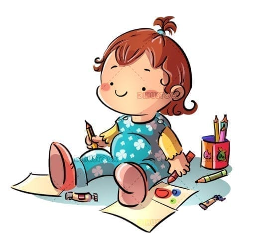 Baby drawing sitting on the floor 1
