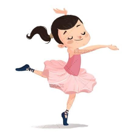 Ballerina girl white background