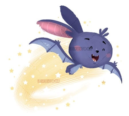 Bat flying with stars