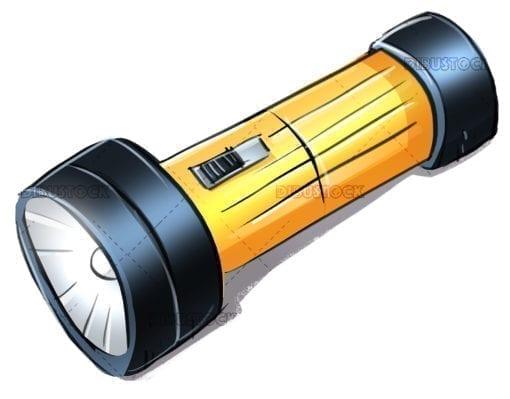 Battery electric flashlight illustration