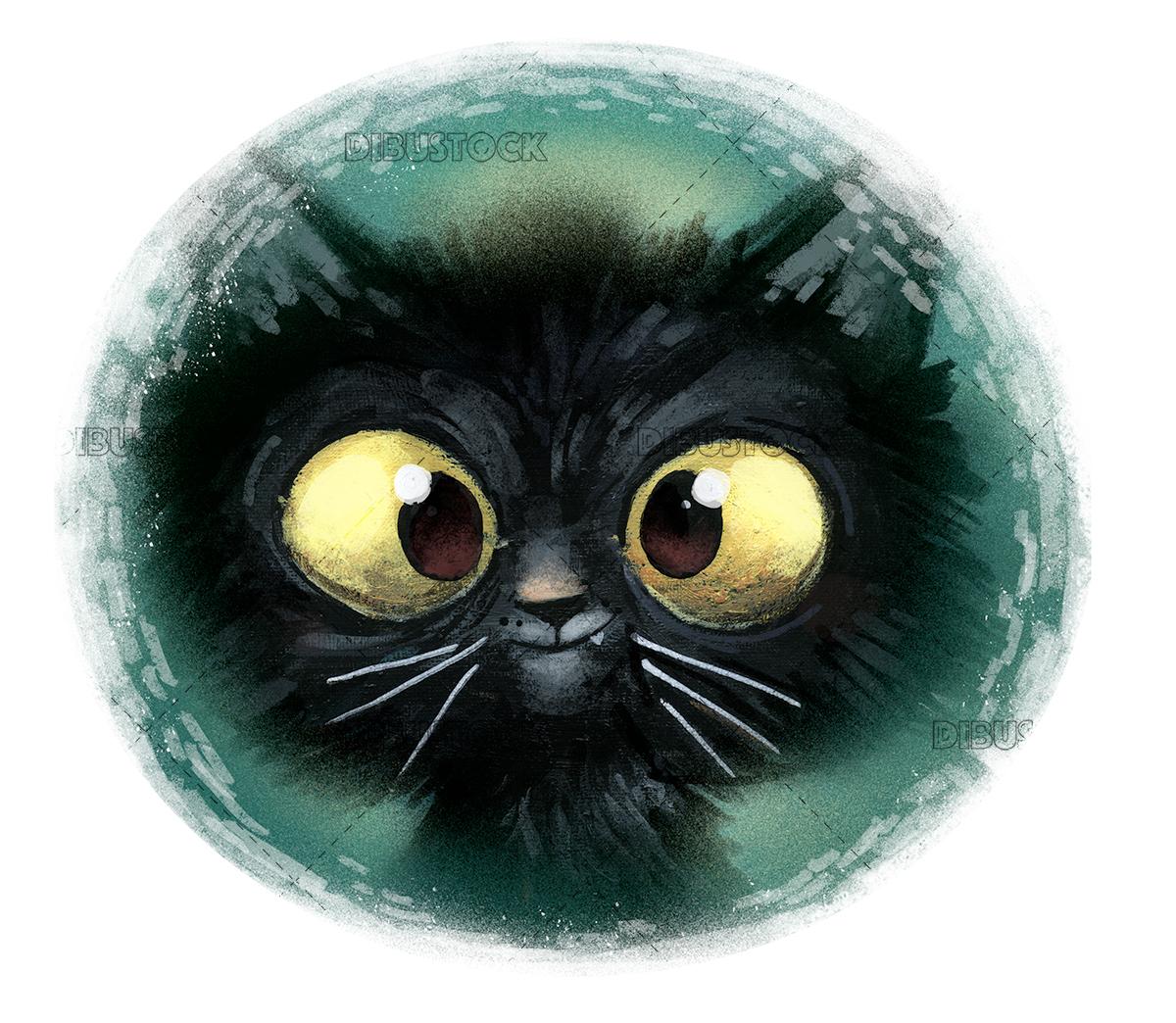 Black cat illustration circle