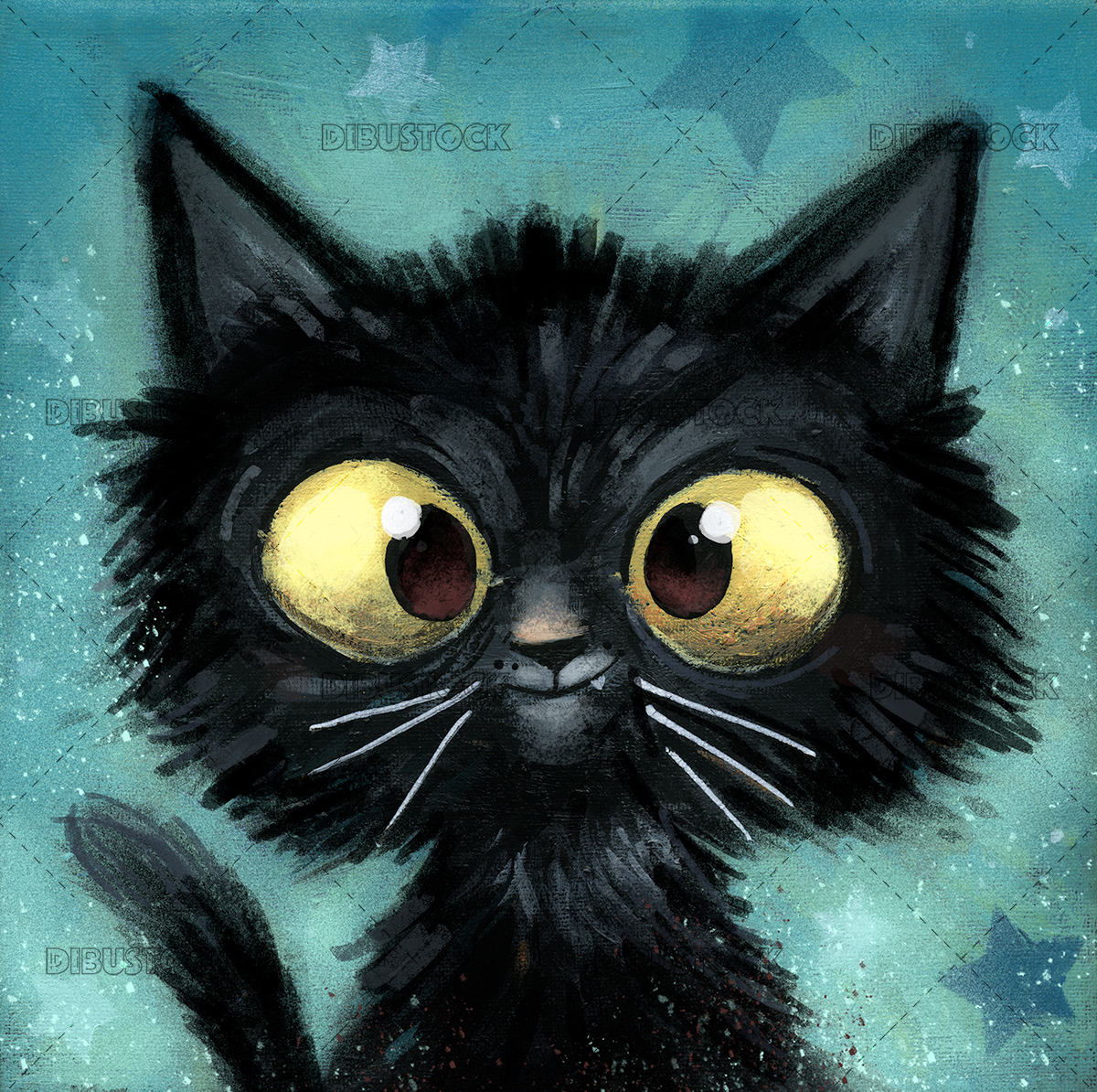 Black cat illustration with background