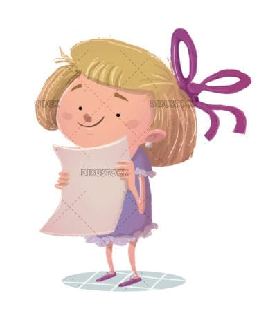 Blond girl with paper