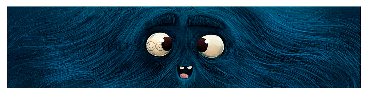 Blue monster face