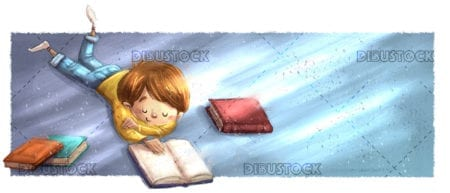 Boy lying reading books
