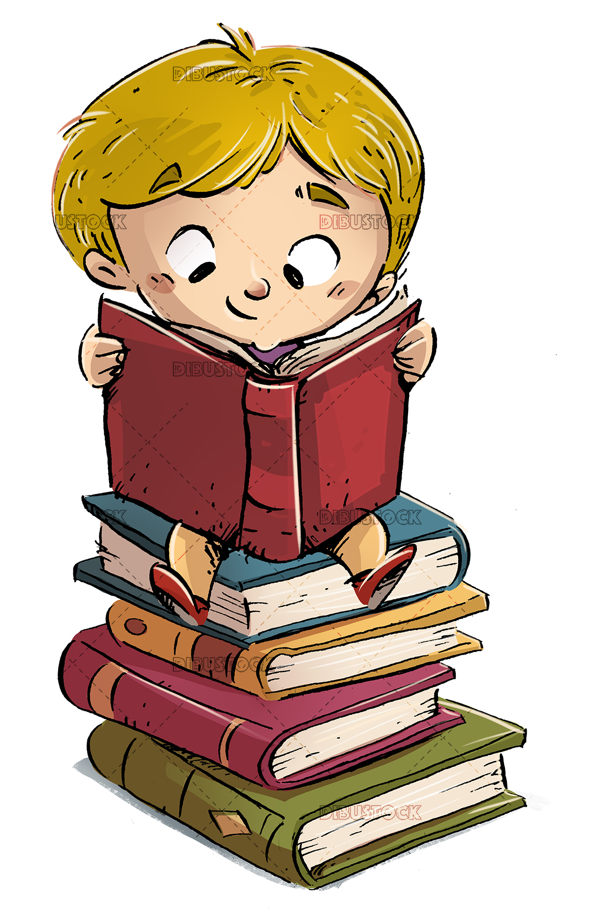 Boy reading over books