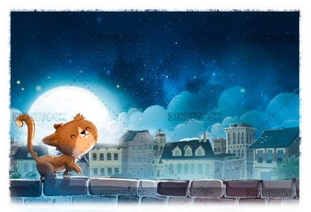 Cat by the city at night
