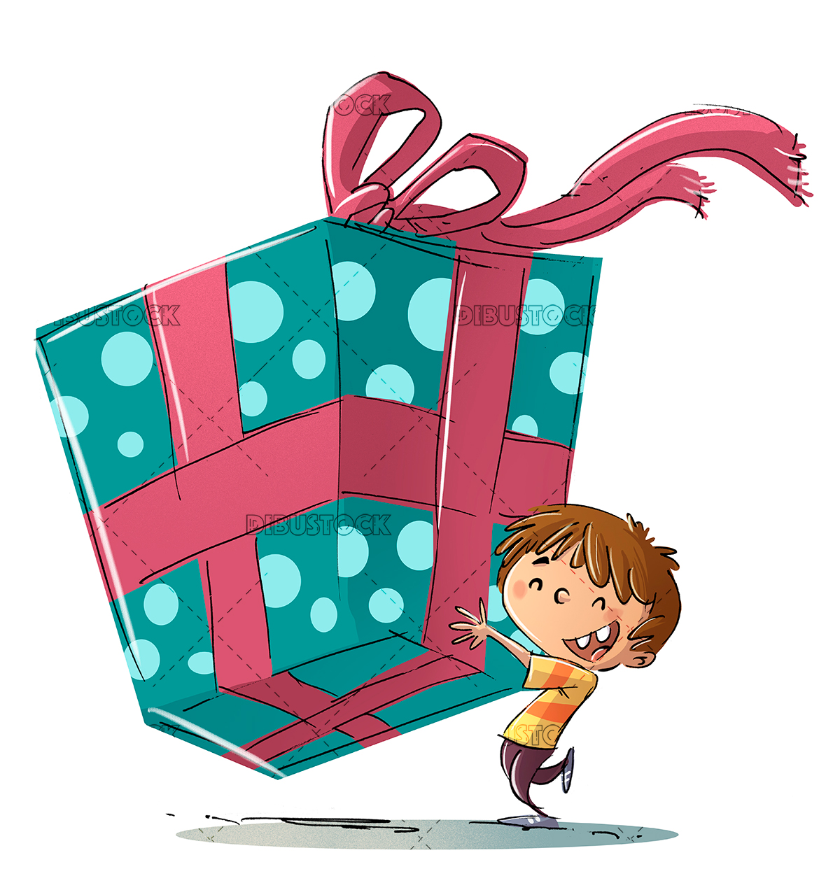 Child with a very large gift