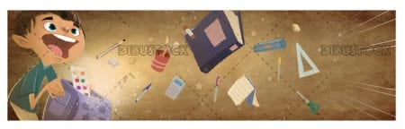 Child with school supplies