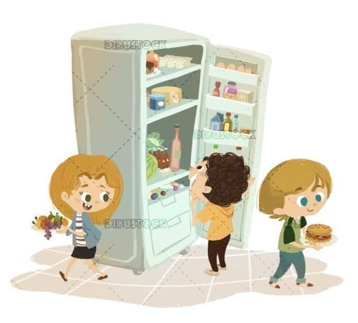 Children taking food from the fridge