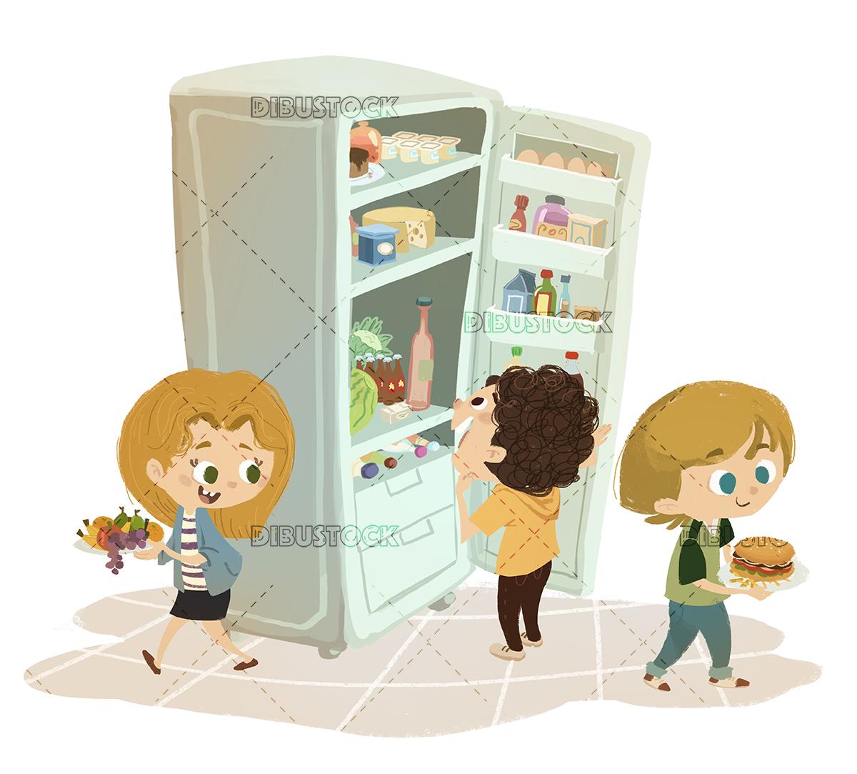 Children taking food from the fridge