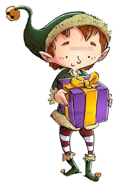 Christmas elf with a gift