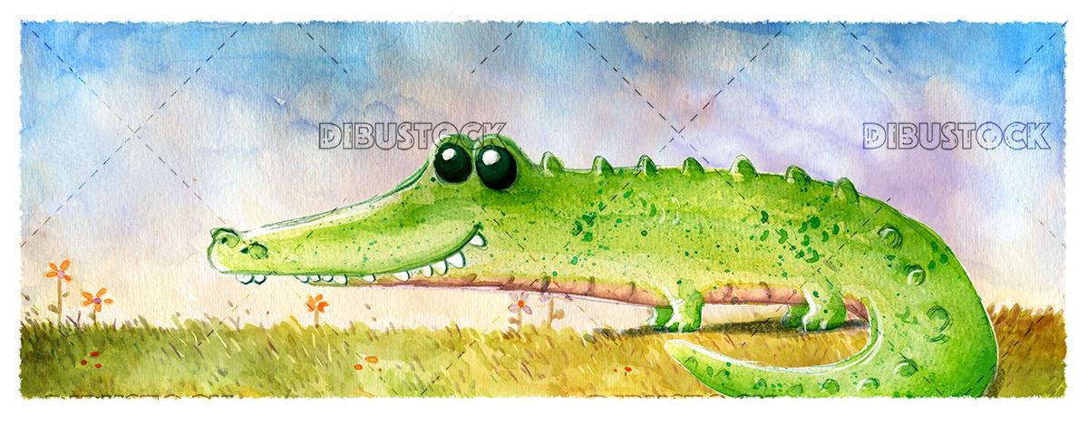 Crocodile in the field