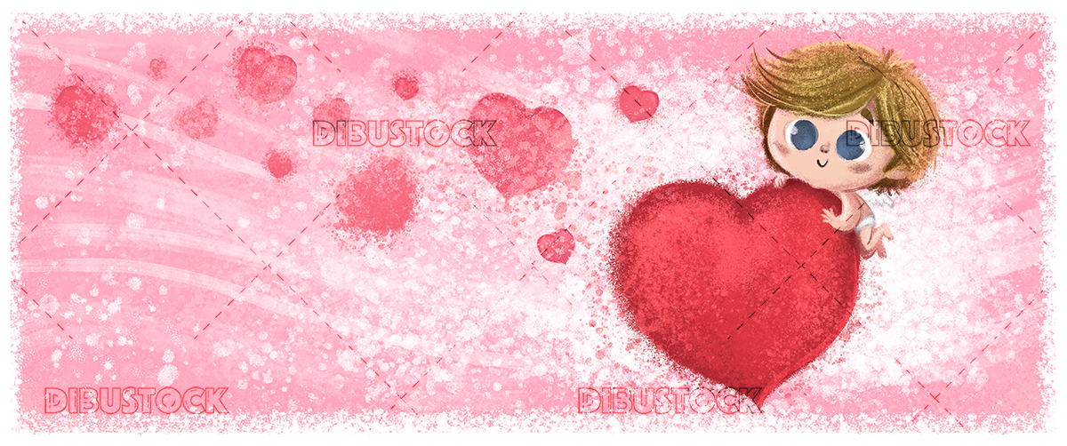 Cupid with heart with red background