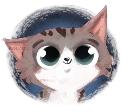 Cute cat face illustration