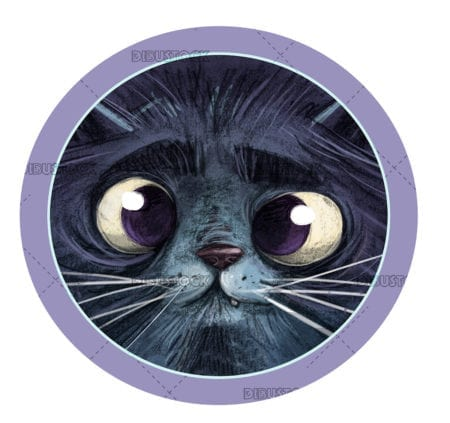 Face of a cat in a circle