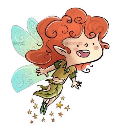 Fairy flying white background