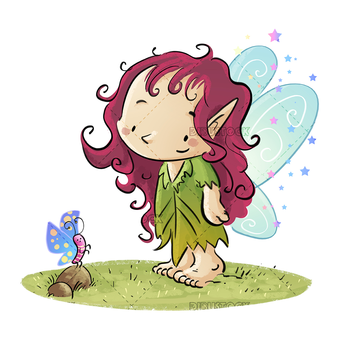 Fairy with butterfly white background