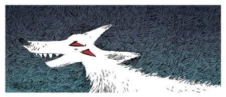 Ferocious wolf blue background