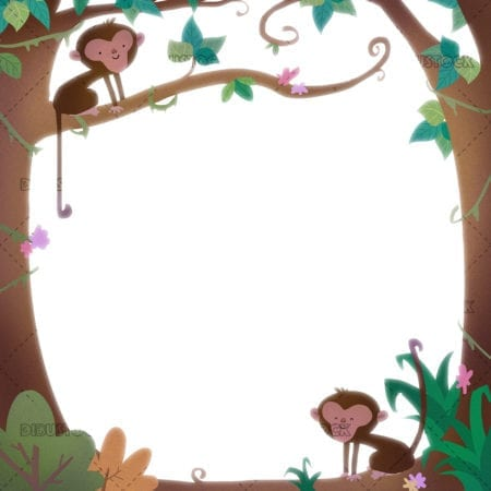 Frame with monkeys in the jungle copia
