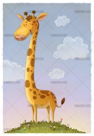 Giraffe illustration white background vertical