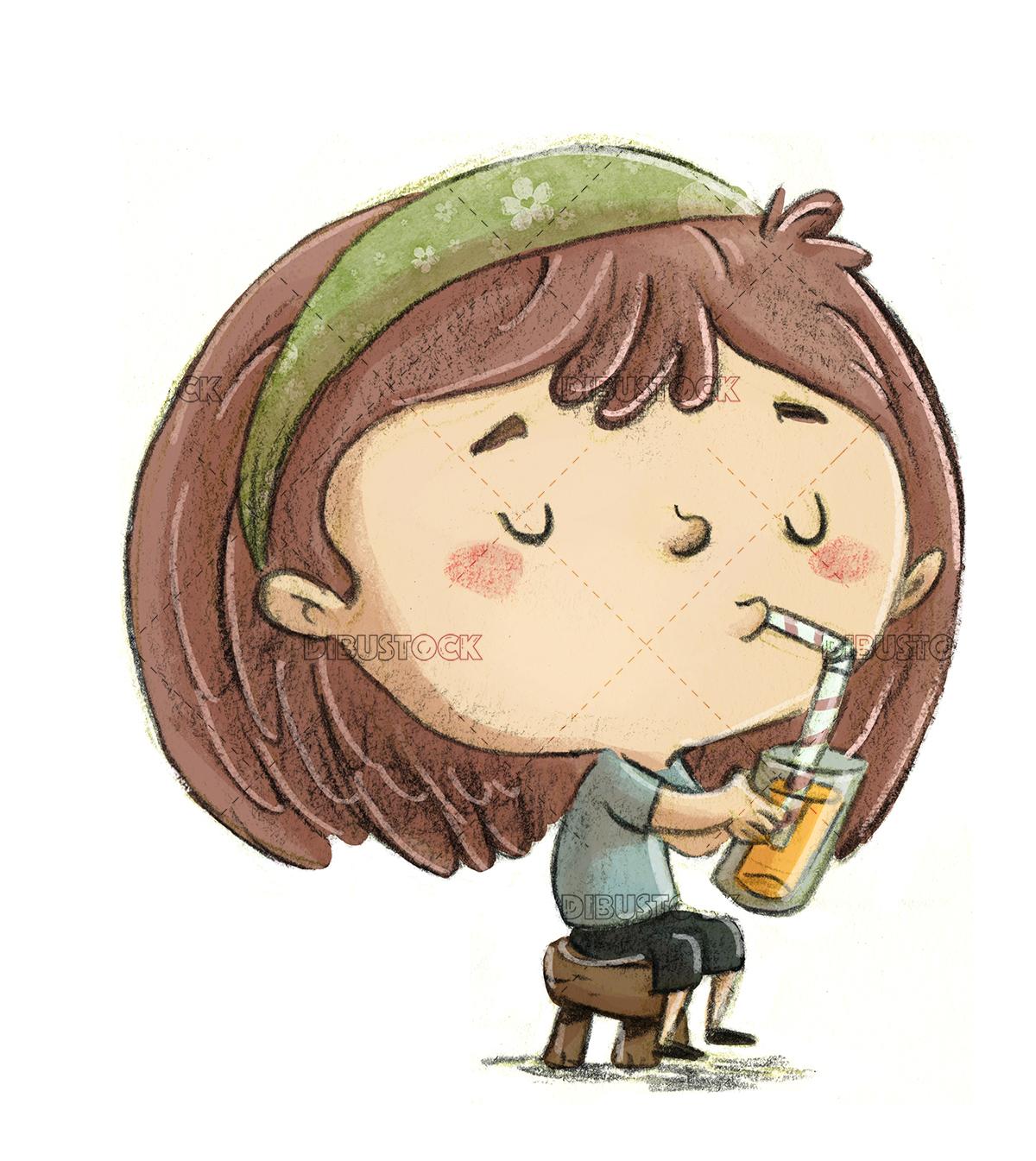 Girl drinking a soda