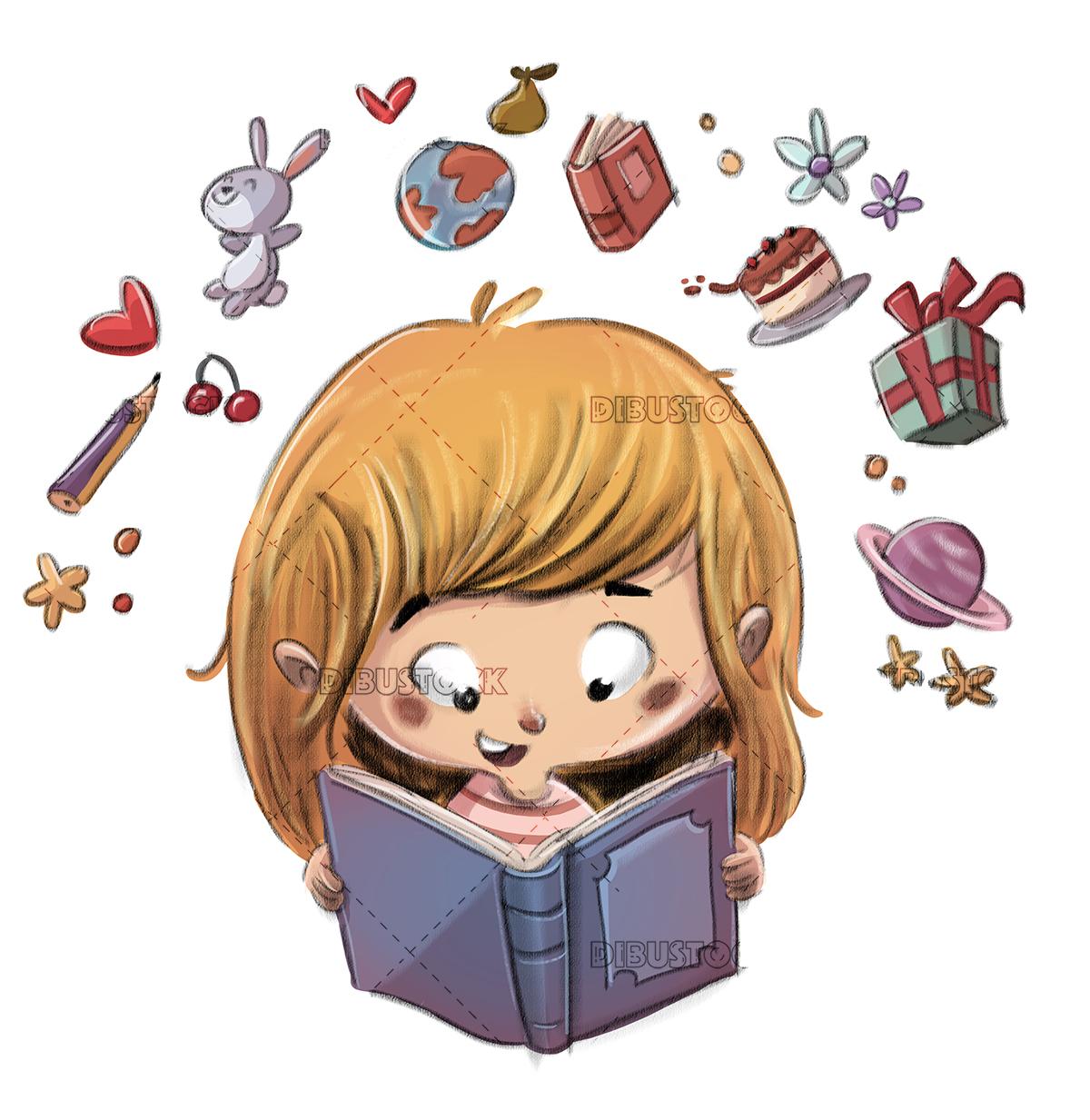 Girl reading a book imagination