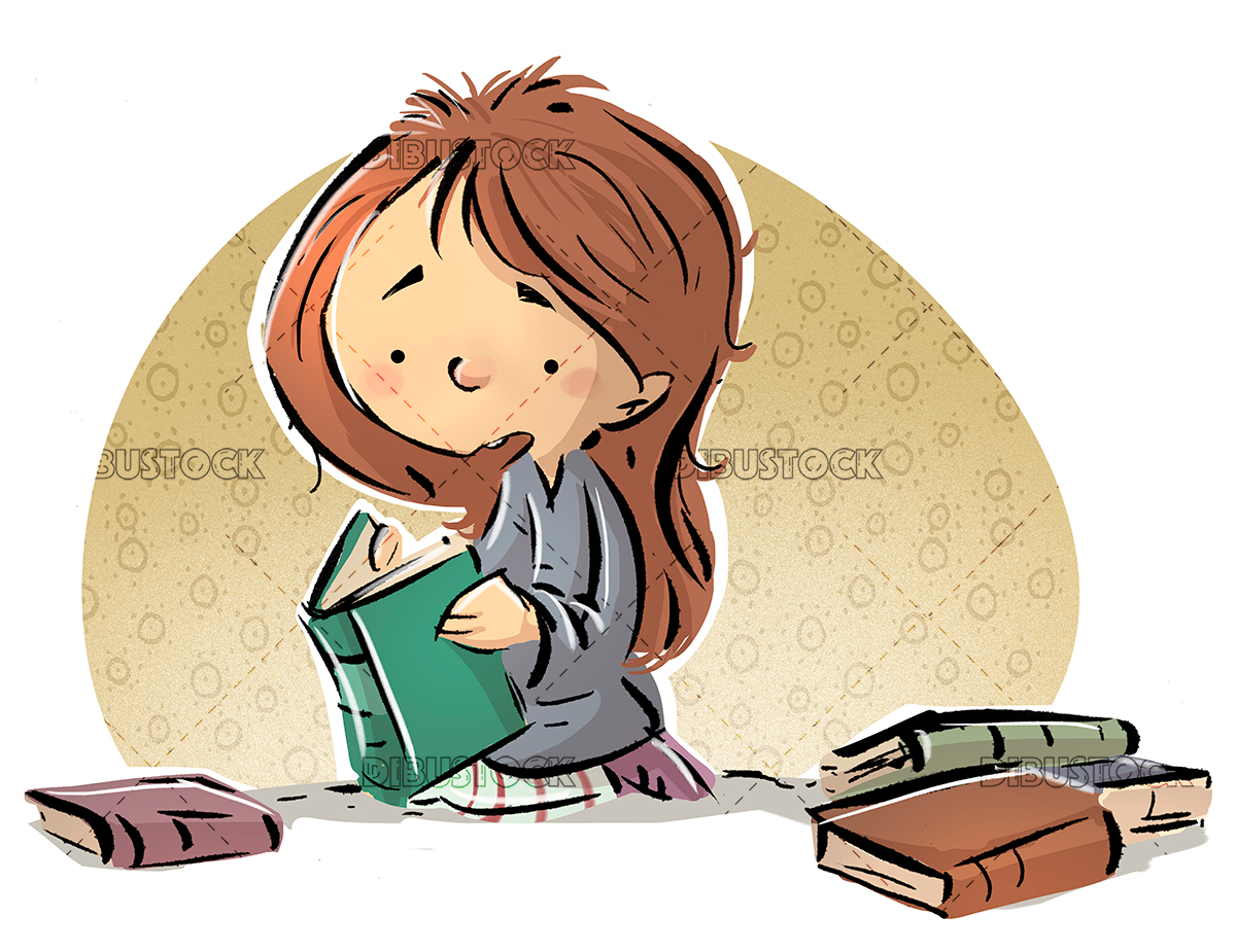 Girl reading a book on the floor