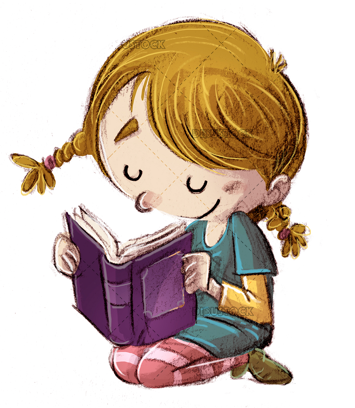 Girl reading a happy book