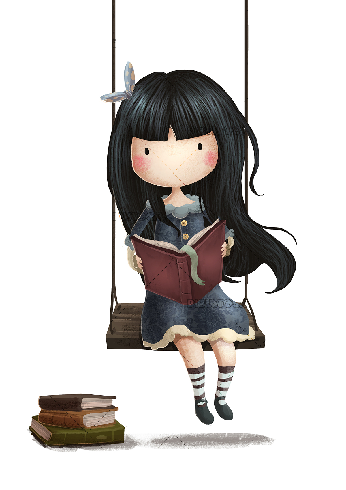 Girl reading on swing
