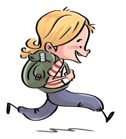 Girl running with backpack