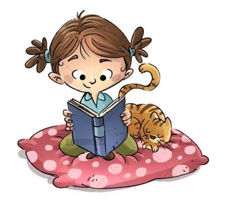Girl sitting reading copia