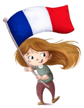 Girl with France flag