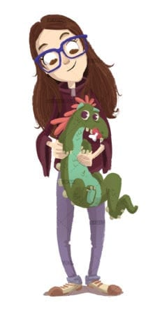 Girl with baby monster