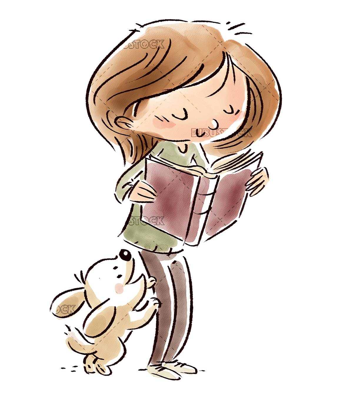 Girl with dog reading a book with white background