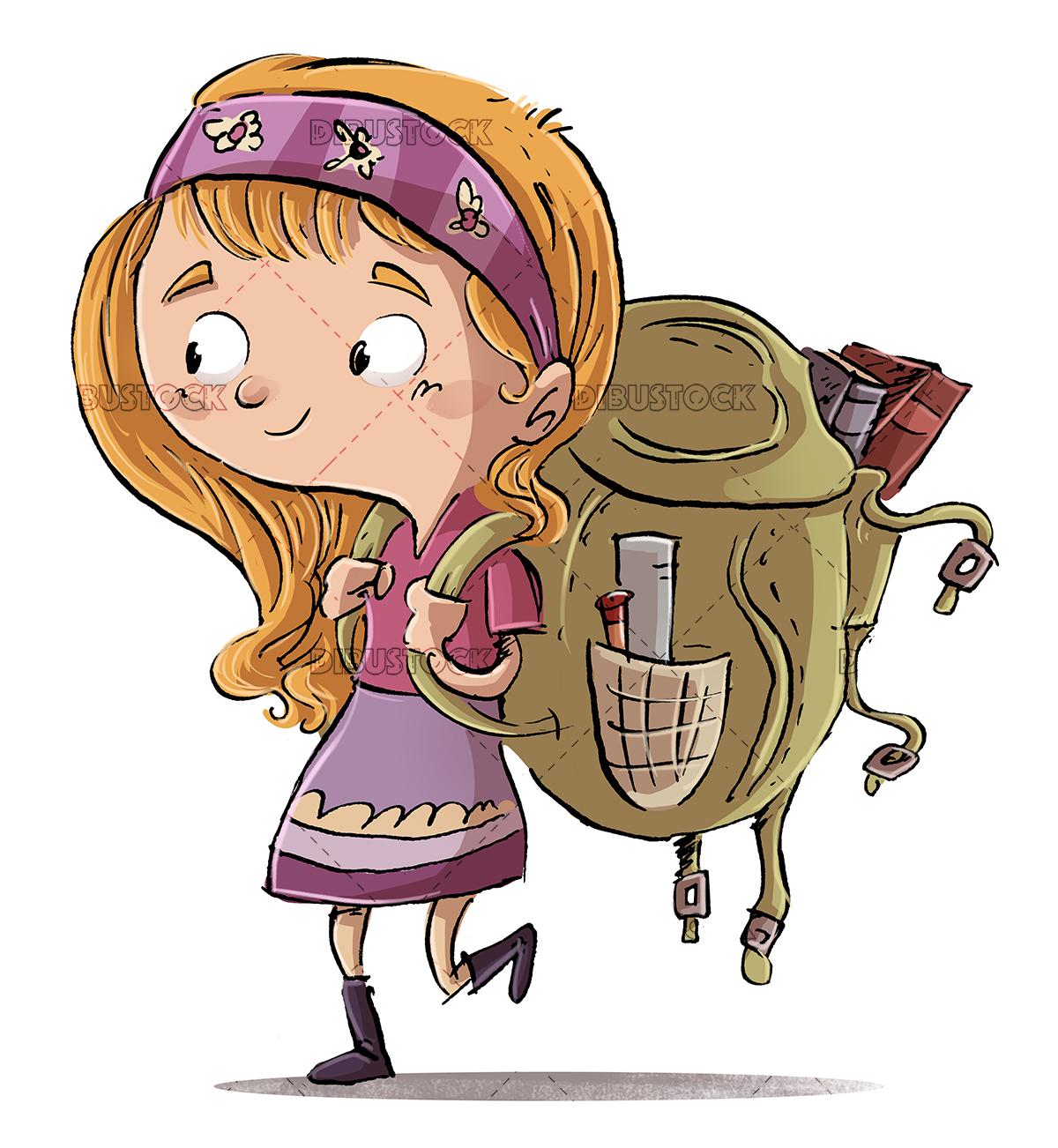 Girl with school backpack