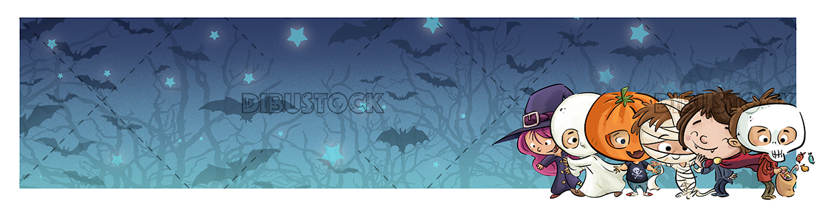 Halloween kids with night background