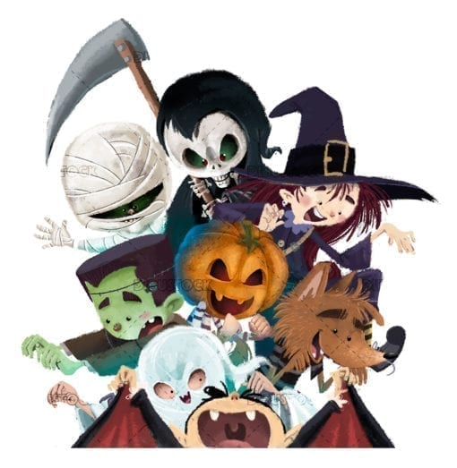 Halloween monsters white backgrund