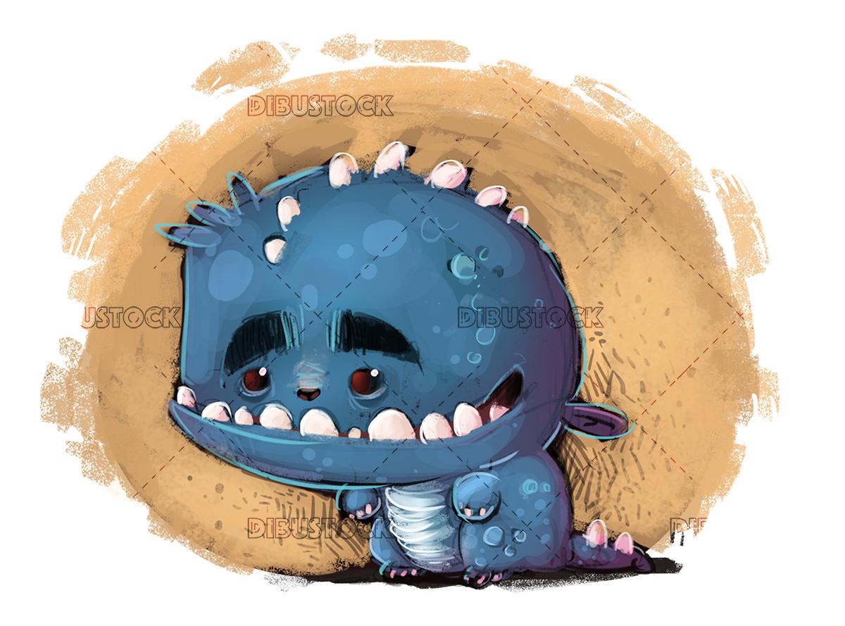 Happy blue monster