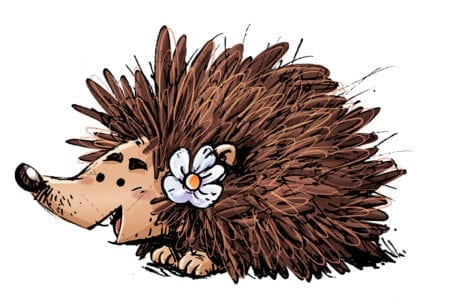 Happy hedgehog with a flower 1