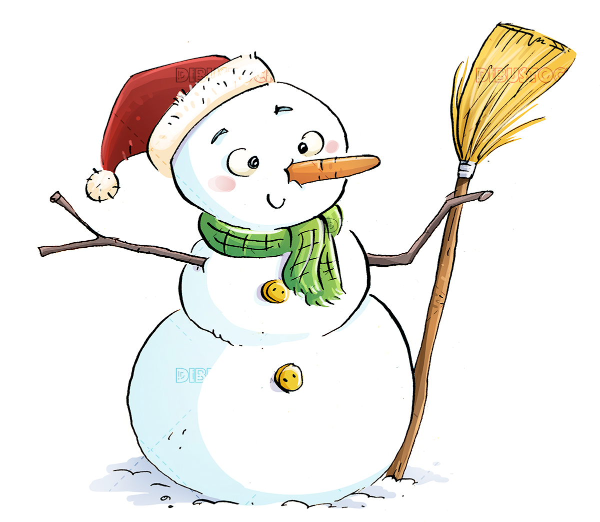 Happy snowman with broom