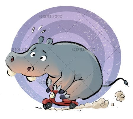 Hippo on a motorcycle
