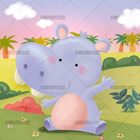 Hippopotamus in the jungle with background