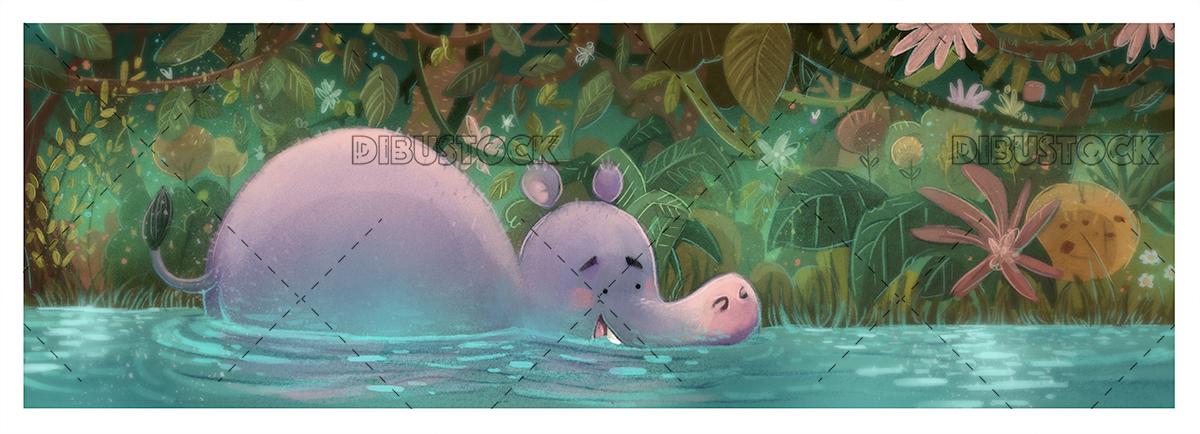 Hippopotamus in the jungle