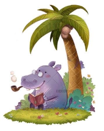 Hippopotamus reading a book