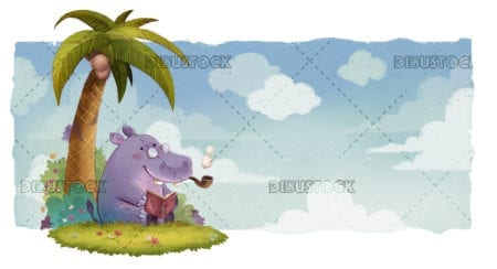 Hypopotamus reading a book