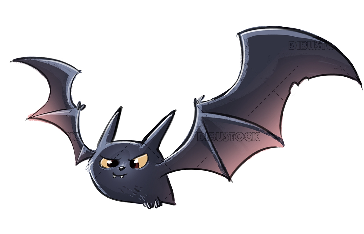 Illustration of bat white background