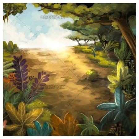 Jungle and plants landscape