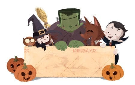 Kids monsters with poster on halloween white background