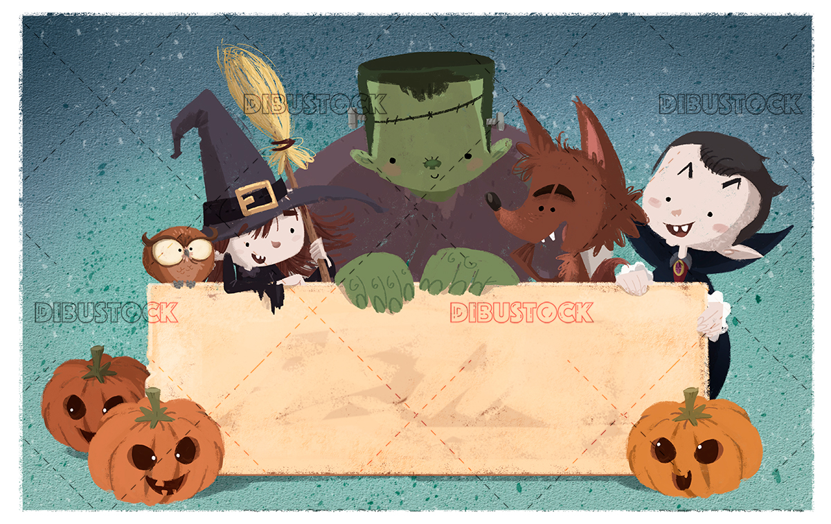 Kids monsters with poster on halloween